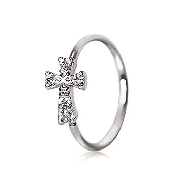 316L Stainless Steel Jeweled Cross WildKlass Cartilage Earring/Nose Hoop Ring