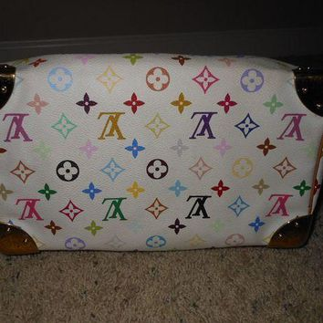 100% Authentic Louis Vuitton Murakami White Multicolor Monogram 30 Speedy Bag