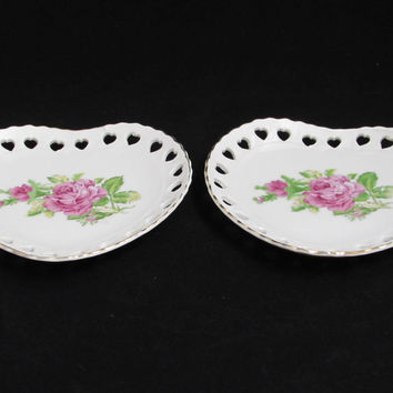 Vintage Heart Shaped Trinket Dishes Pink Roses Made in Japan