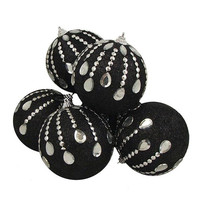 "6 Christmas Ball Ornaments - 3.75 ""  - Black"
