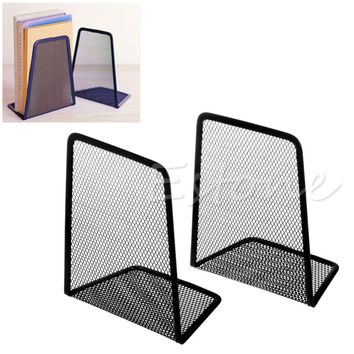 1 Pair Black Metal Mesh Desk Organizer Desktop Office Home Bookends Book Holder