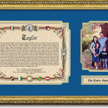 Surname History and Family Photo Personalized Gift with Photo Mat Keepsake.