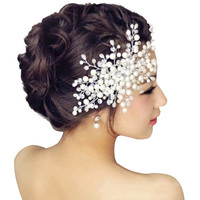 Bridal Wedding Hair Accessories Pearl Flower Tiara Headpiece Crystal Headband for girls
