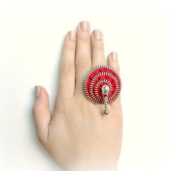 CIJ SALE 15% off zipper ring, red zipper, plated silver ring .YKK Zipper-Ring is adjustable.eco friendly, recycled jewelry