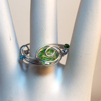 Swarovski Crystal Peridot Wire Wrapped Ring Size 9 - Ready to ship