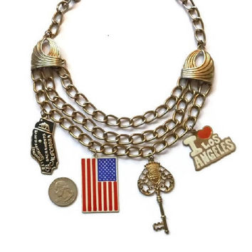 Vintage AMERICAN STATEMENT Charm Necklace 60s 70s Patriotic Gold Triple Chain Flag Jewelry LA Key Los Angeles California Huge usa Charm Gift