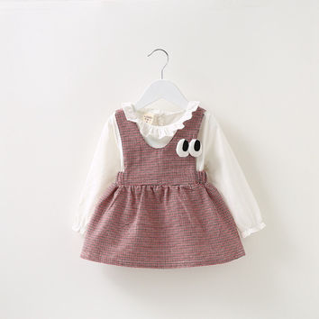 2016 New Autumn Long Sleeved Baby Infants Girls Kids Children Cotton Faux two piece Plaided Tutu Overalls Dress Vestido S3770