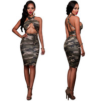 Woman Summer Camouflage Bodycon Dress Cross Halter Backless 2 Two Piece Set Womens Sexy Dresses Party Night Club Bandage Dress