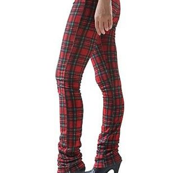 RTBU Punk Rocker Long Red Tartan Plaid Legging Warm Thermal Cigarette