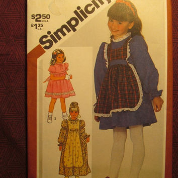 SALE Uncut 1980's Simplicity Sewing Pattern, 5732! Size 5 Girls/Toddlers/Kids/Pinafore Dresses/Apron Style Dress/Long or Short Sleeves/Costu