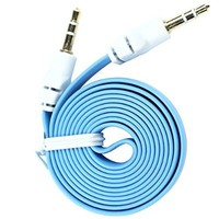 niceeshop(TM) PVC Flat Noodle Shape 3.5mm Male to 3.5mm Male Stereo Audio Auxiliary Aux Cable (Light Blue,1m)