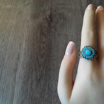 Blue Turquoise Floral Ring in 925 Sterling Silver, Vintage Handmade Southwestern Flower Jewelry, US Size 8 (ring sizing available)