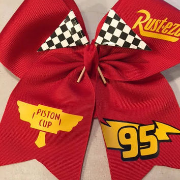 "Disney Cars ""Lighting McQueen"" inspired Cheer Bow"
