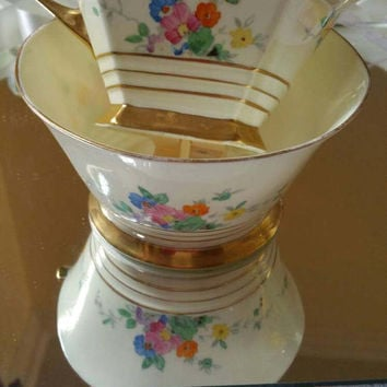 Plant Tuscan Art Deco vintage china milk jug/creamer and sugar bowl stunning delicate hand painted flowers and gold trim/1930s/