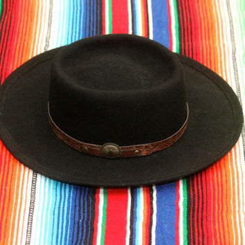 Vintage 70s 80s Southwestern // Black Wool Flat Brim Hat // Tooled Faux Leather // Concho Button // One Size / Small Medium Large