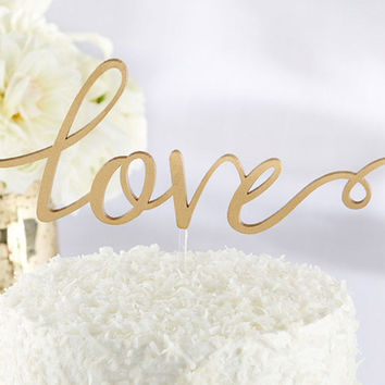 Elegant Gold Love Cake Topper