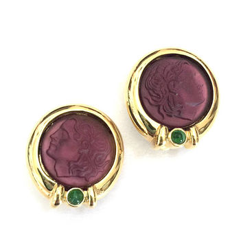 Intaglio Amethyst Glass Cameo Earrings, Greek Profile Cameo, Gold Tone, Emerald Green Crystal Accent, Hellenic Jewelry, Vintage Earrings