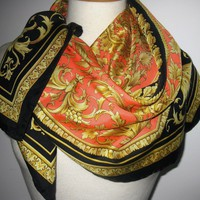 100% VERSACE SILK Black GOLD Medallion GRAPES BAROQUE ROCOCO SCARF Foulard HIJAB