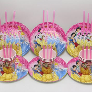 24 pcs/lot paper plate cup straw cartoon princess girl favor kids happy birthday party festival decoration supplies 8 people use
