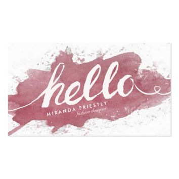 Hello Typography Pink Magenta Purple Watercolor Business Card