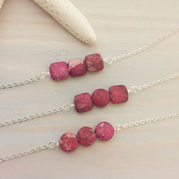 Hot Pink Stone Necklace - Sea Jasper Necklace - Ocean Jasper Necklace - Pink Stone Bar Necklace - Hot Pink Bar Necklace