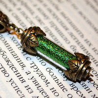 Hogwarts Slytherin House Points Glass Vial Bottle Pendant Necklace Harry Potter