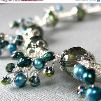 VALENTINES SALE Beaded Necklace Teal Crystals by FiveLittleGems