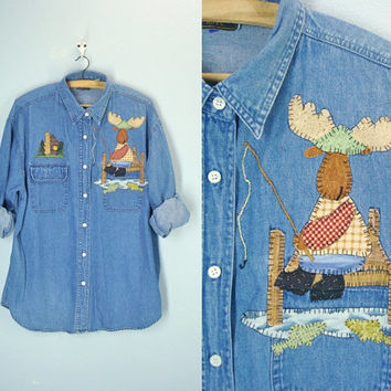 80s Denim Shirt . Moose Blouse . Slouchy Top . Denim Blouse . Embroidered . Womens Size xl