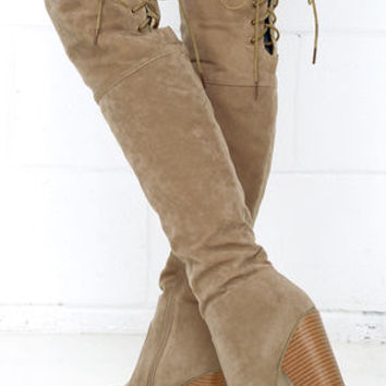 Mountain Crest Nude Suede Over the Knee Boots