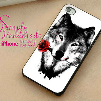 Black Wolf Case fit iPhone Case iPhone 4 Case iPhone 5 Case iPhone 5C Case Samsung S3 Case Samsung S4 Case Phone Cover Style JJCOVER