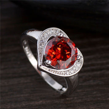 925 sterling silver Red cubic zirconia Heart Lady's Wedding Ring Size 7-9