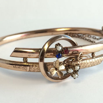 Rose Gold Victorian Bangle Seed Pearl Bracelet Hinged Bypass Wedding Bracelet Victorian Antique Jewelry Gold Filled 1800s Vintage Bridal