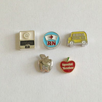 Living locket floating charms jobs - computer, RN with nurse hat round, school bus, silver apple with crystal, Special Teacher apple