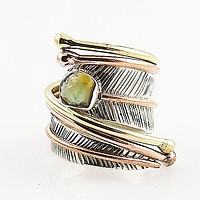 Ethiopian Opal Rough Three Tone Sterling Silver Adjustable Wrap Ring