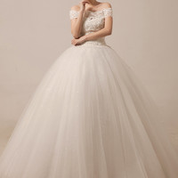 Off Shoulder Lace Prom Debutante Ball Gown Dress   MX5012