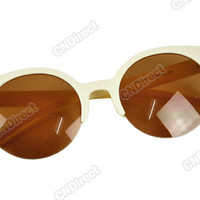 Unisex Retro Designer Super Round Circle Cat Eye Semi-Rimless Sunglasses Fashion