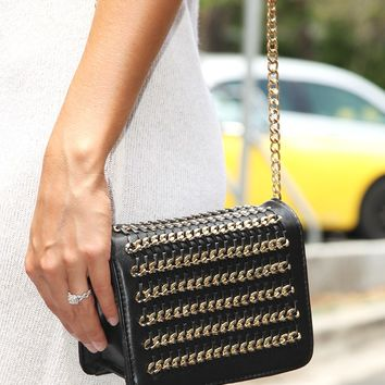 All About Me Clutch: Black/Gold