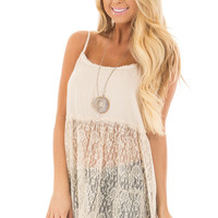 Natural Sheer Lace Slip Spaghetti Strap Top