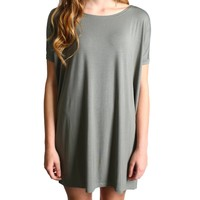 Olive Piko Tunic Short Sleeve Dress