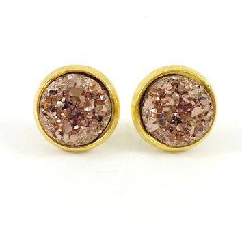 Druzy Earrings, Druzy Studs, Faux Druzy Earrings, Rose Gold and Gold Druzy Earrings, Post Earrings, Stocking Stuffer, Holiday Gift