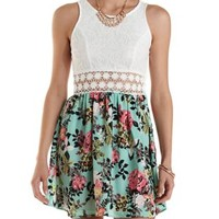 Ivory Combo Lace & Floral Print Cut-Out Dress by Charlotte Russe