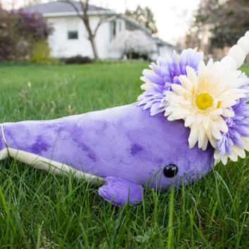 Purple Flower Narwhal Stuffed Animal Plush Toy Plush, One of a Kind, Spring Flower Narwhal