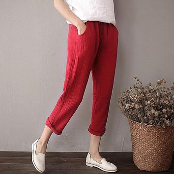 2017 Spring women solid cotton linen pencil pants,plus size Trousers with pockets M- 5xl 6XL,black brown red white pants Vintage
