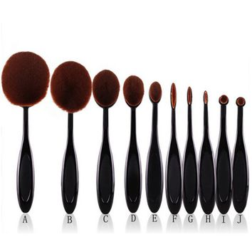 10pcs Pro Toothbrush Makeup Brush Oval Brush Set Multipurpose Makeup Brushes Set Super Nice Toothbrush Makeup Brush 7662
