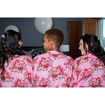 Pink Floral Kimono Bridesmaid and Flower Girl Robes