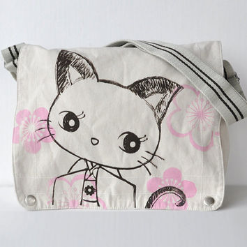 Kimono Kitty  Canvas Messenger Bag White by namu on Etsy