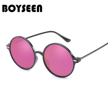 BOYSEEN Hot Sale Fashion Round Sunglasses Women Classic Brand Designer Female Twin-Beams Coating Mirror Flat Panel Lens 915