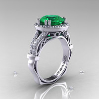 Caravaggio 14K White Gold 3.0 Ct Emerald Diamond Engagement Ring, Wedding Ring R620-14KWGDEM