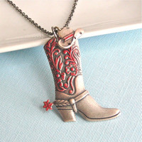 Western Boot Hat Necklace - Cowgirl, Jewelry,  Texas, Cowboy, Silver Blue
