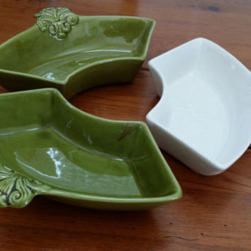 Set of 3 Vintage California Pottery Green White Serving Candy Relish Dishes J32 Replacement Lazy Susan Chip and Dip Set Pieces Entertaining